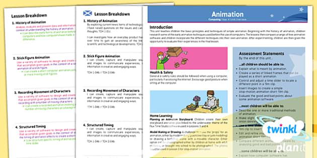 PlanIt - Computing Year 4 - Animation Planning Overview CfE - CfE, computing, animation