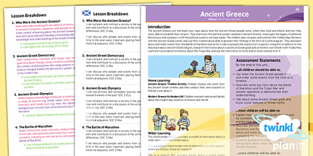 PlanIt - History UKS2 - Ancient Greece Planning Overview CfE - history, ancient, greece, overview, ks2, history, 2014, planning