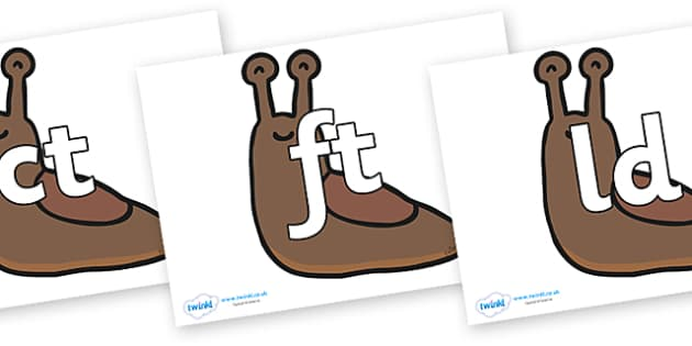 Final Letter Blends on Slugs - Final Letters, final letter, letter blend, letter blends, consonant, consonants, digraph, trigraph, literacy, alphabet, letters, foundation stage literacy