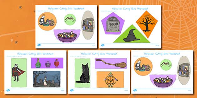 Halloween Themed Cutting Skills Worksheet - american, US, fine motor skills, pd, early years, Key stage 1, KS1