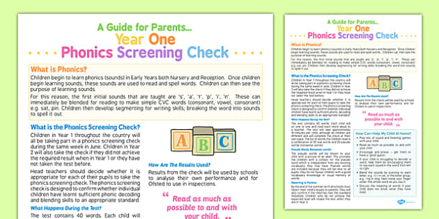 Year 1 Phonics Screening Check A Guide for Parents - phonics