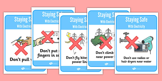 Staying Safe with Electricity Display Posters - Electric, safety, safe, word mat, mat, writing aid, power, circuit, electricity, battery