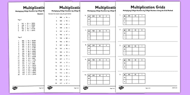 Multiplying 3 Digit Numbers by 2 Digit Numbers Using Grid Method – Multiplication Grid Worksheet Ks2