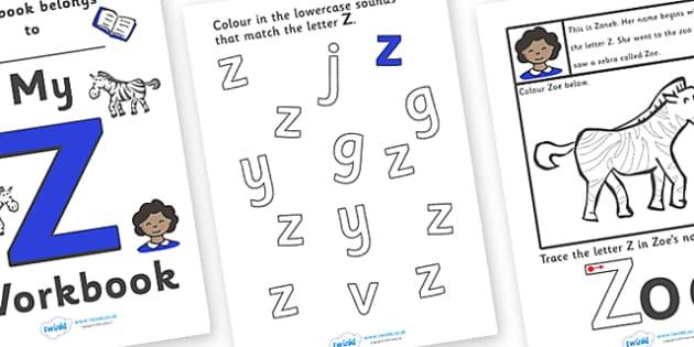 My Workbook Z uppercase - workbook, Z sound, uppercase, letters, alphabet, activity, handwriting, writing