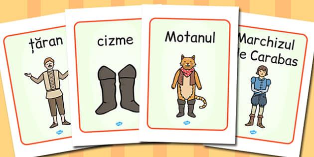 Motanul Incaltat, Planse A4  cu imagini si cuvinte din poveste, Romanian
