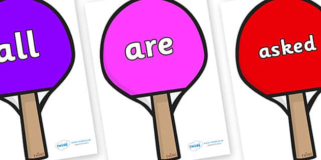 Tricky Words on Table Tennis Bats - Tricky words, DfES Letters and Sounds, Letters and sounds, display, words