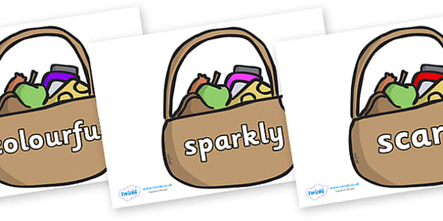 Wow Words on Baskets - Wow words, adjectives, VCOP, describing, Wow, display, poster, wow display, tasty, scary, ugly, beautiful, colourful sharp, bouncy