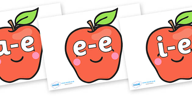Modifying E Letters on Cute Smiley Apple - Modifying E, letters, modify, Phase 5, Phase five, alternative spellings for phonemes, DfES letters and Sounds