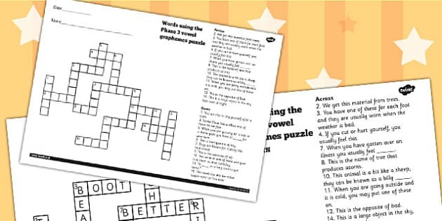 Words Using The Phase 3 Vowel Graphemes Crossword - crossword