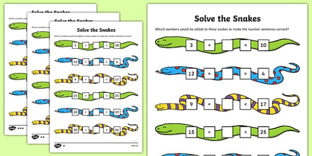 Solve the Snakes Maths Activity Sheet Pack, worksheet