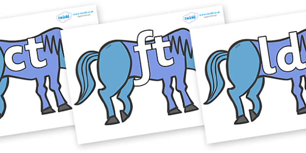 Final Letter Blends on Blue Horse to Support Teaching on Brown Bear, Brown Bear - Final Letters, final letter, letter blend, letter blends, consonant, consonants, digraph, trigraph, literacy, alphabet, letters, foundation stage literacy