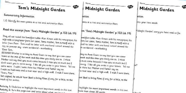 Toms Midnight Garden Summarising Practice Worksheets - summarise