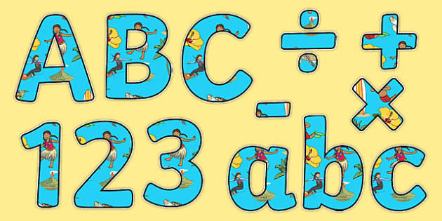 Hawaii Display Letters and Numbers Pack
