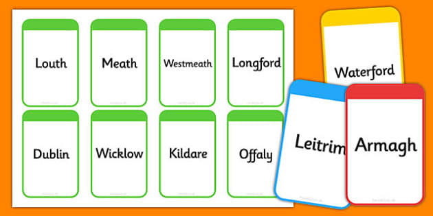 Counties of Ireland Flashcards - counties, ireland, flashcards