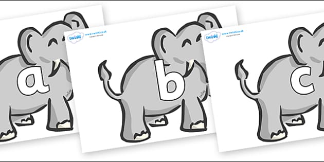 Phoneme Set on Elephants - Phoneme set, phonemes, phoneme, Letters and Sounds, DfES, display, Phase 1, Phase 2, Phase 3, Phase 5, Foundation, Literacy