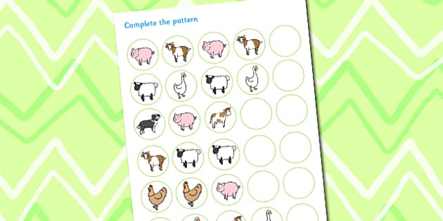 Animal Pattern Sequencing Activity Sheet to Support Teaching on Pig in the Pond - pig in the pond, animals