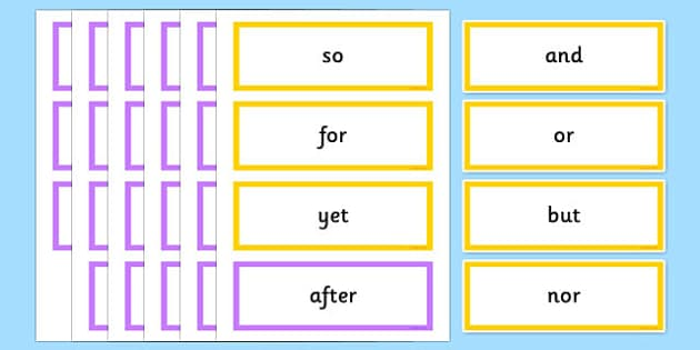 Subordinating Coordinating Conjunctions Word Cards - Connectives