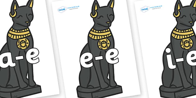 Modifying E Letters on Egyptian Cats - Modifying E, letters, modify, Phase 5, Phase five, alternative spellings for phonemes, DfES letters and Sounds