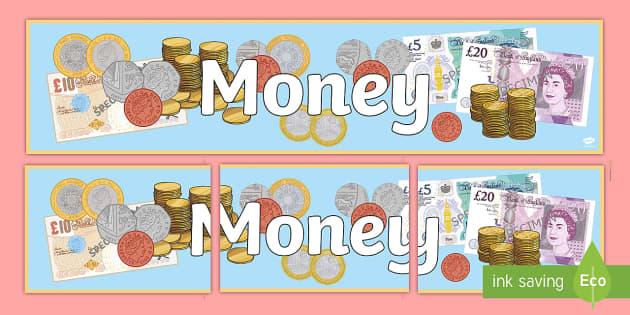 Money Display Banner - money, money banner, money display, money display title, money display header, money classroom display, maths money, ks2 money, ks2