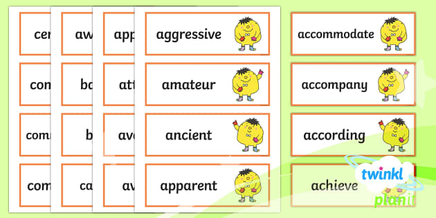 PlanIt English Additional Resources Y5/Y6 Statutory Spelling Word Cards - Spellings Year 5, Y5, spelling, SPaG, GPS, word cards, appendix 1, display, flashcards