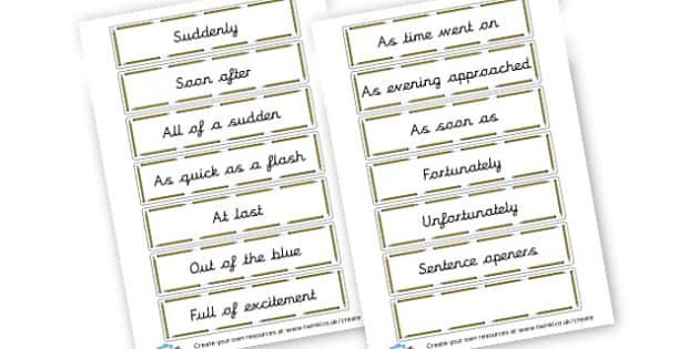 Openers cards - Display Sentence Starters Primary Resources, Display, Letters