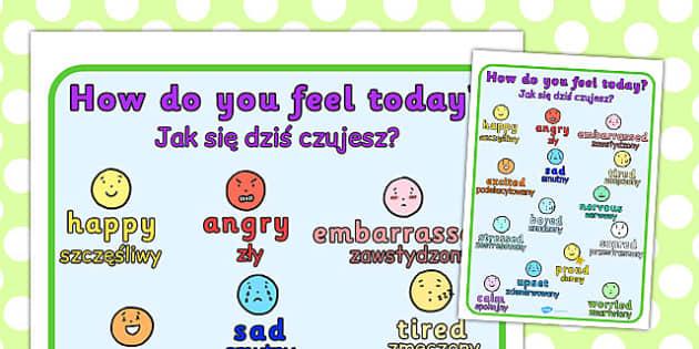 How Do You Feel Today? Emotions Chart Polish Translation - polish