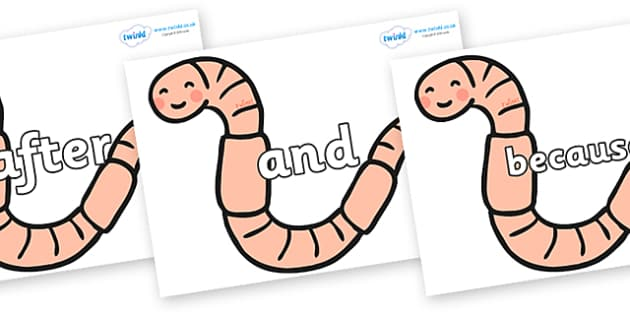 Connectives on Earthworms - Connectives, VCOP, connective resources, connectives display words, connective displays