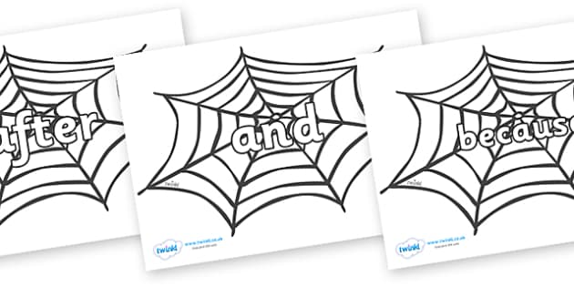 Connectives on Spiders Web - Connectives, VCOP, connective resources, connectives display words, connective displays