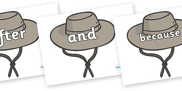 Connectives on Cowboy Hats - Connectives, VCOP, connective resources, connectives display words, connective displays