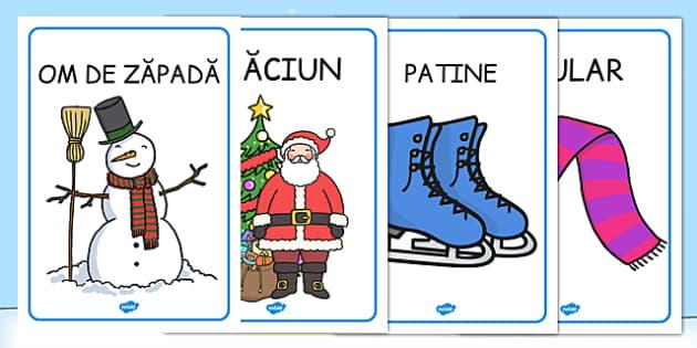 Iarna, Poster imprimabil, urs polar, patinaj, Mos Craciun, Romanian