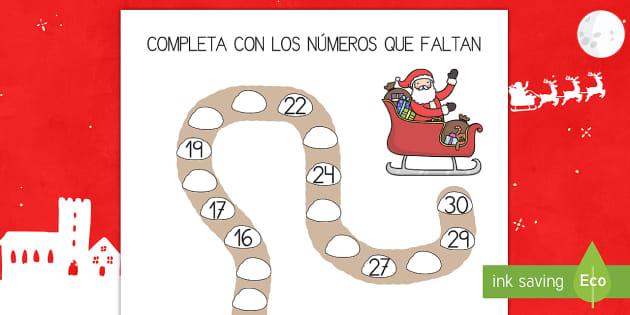 Ficha de completar números: El camino del reno hacia  Papa Noel - recta numérica, números, papa noel, navidad,Spanish - recta numérica, números, papa noel, navidad,Spanish