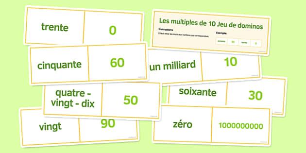 Les multiples de 10 Jeu de dominos - french, multiples, 10, dominoes, multiples of 10