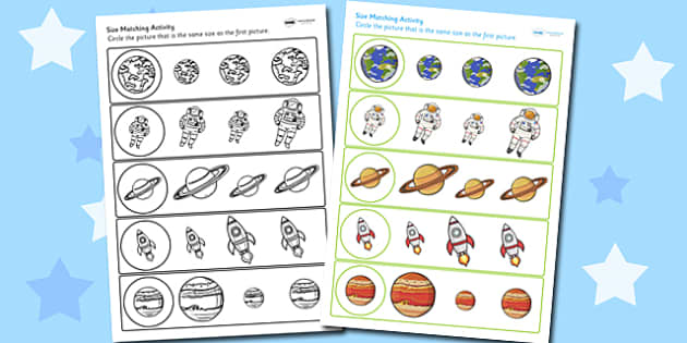 Space Themed Size Matching Worksheet - space, size, matching