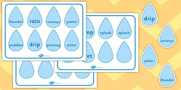 Raindrop Word Cards - raindrop, word cards, word, cards, rain