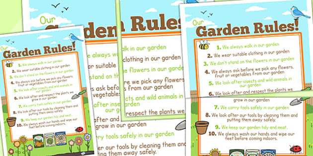 Large School Garden Rule Poster - class management, behaviour