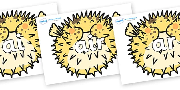 Phase 3 Phonemes on Pufferfish - Phonemes, phoneme, Phase 3, Phase three, Foundation, Literacy, Letters and Sounds, DfES, display