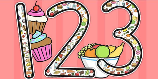 Food Themed Display Numbers - number display, food, eating, eat