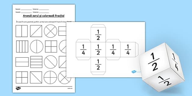Arunca zarul si coloreaza fractia, Fisa - fractii, jocuri - romanian, activities, fractions, worksheet