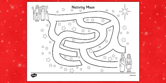 Nativity Maze Activity Sheet - nativity, maze, activity, sheet, worksheet