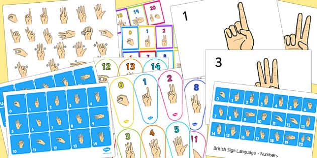 0-20 British Sign Language Resource Pack (Signer's View) - resource, pack, sign