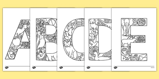 Uppercase Alphabet Themed Mindfulness Colouring Sheets - mindfulness