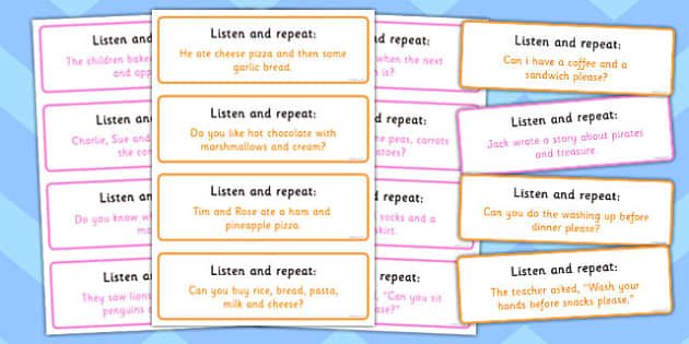 Listen and Repeat - 8-9 Word Length Sentence Cards_Set 2 - cards