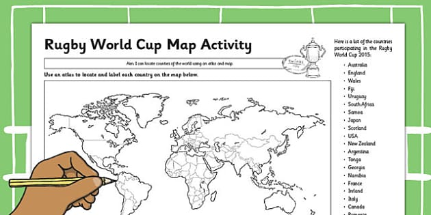 Rugby World Cup Map Activity - rugby, world cup, activity, map