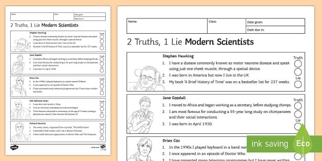 2 Truths, 1 Lie Modern Scientists Homework Activity Sheet