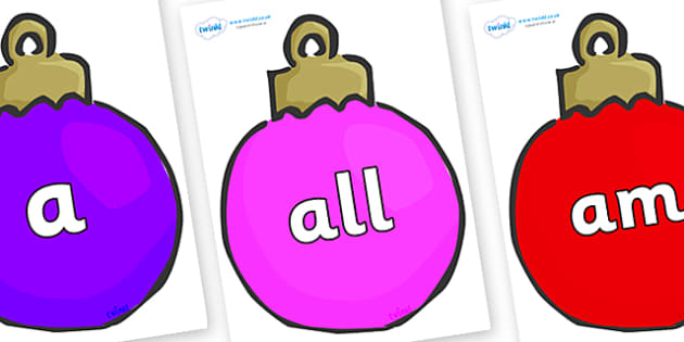 Foundation Stage 2 Keywords on Plain Baubles (Multicolour) - FS2, CLL, keywords, Communication language and literacy,  Display, Key words, high frequency words, foundation stage literacy, DfES Letters and Sounds, Letters and Sounds, spelling