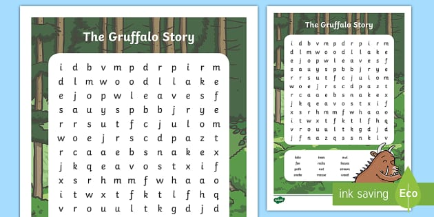 The Gruffalo Story Word Search - Become increasingly familiar with and ...