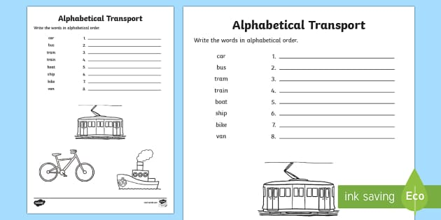 Transport Alphabet Ordering Worksheet - transport, alphabet, a-z