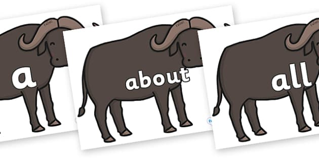 100 High Frequency Words on Buffalos - High frequency words, hfw, DfES Letters and Sounds, Letters and Sounds, display words