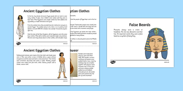 Egyptian Fashion Information Sheets - Cfe, Social Studies, Ancient Egypt, Egyptian Fashion