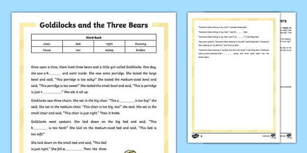 Goldilocks and the Three Bears Traditional Tale Cloze Procedure Differentiated Activity Sheet Pack, worksheet